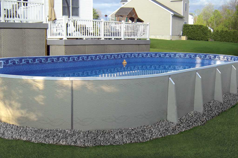 Oval 4 foot deep swimming pool installed in back yard in Erie, PA area.